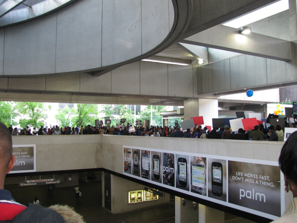 Rally on the upper level of MARTA 5 Points station
