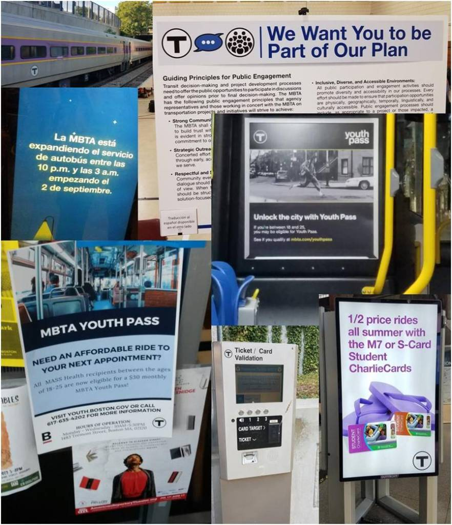 Collage of images about Youth Pass, Late night service, Fairmount Line service and Charliecard readers, student cards for the summer, and public engagement plan.